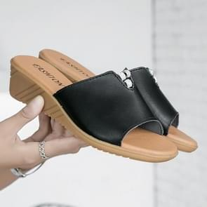 Fashion Oxford Bottom Increase Heel Casual Sandals for Women (Color:Black Size:35)