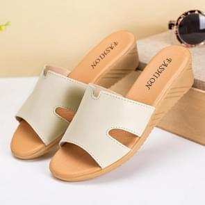 Simple Fashion Casual Increase Heel Sandals for Woman (Color:Beige Size:39)