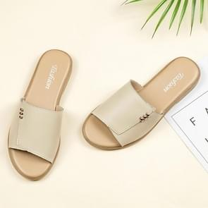 Fashion Simple and Comfortable Flat Bottom Wild Sandals for Woman (Color:Beige Size:36)