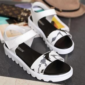Casual Fashion Comfortable Wild Leather Sandals for Woman (Color:White Size:37)