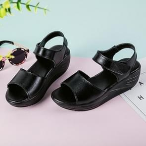 Casual Fashion Simple Increased Heel Wild Sandals for Woman (Color:Black Size:37)