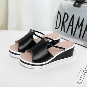 Fashion Casual Wedge Sandals Slippers for Woman (Color:Black Size:36)