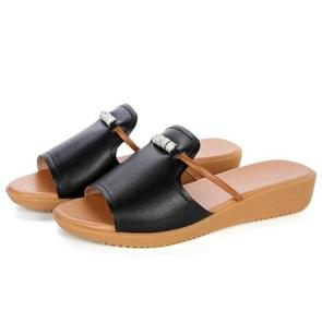 Fashion and Comfortable Breathable Wild Sandals Slippers for Woman (Color:Black Size:38)