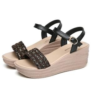 Fashion One-button Buckle Sequin Sandals for Woman (Color:Black Size:37)
