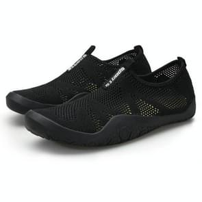 Casual Lightweight Breathable Flying Woven Running Shoes for Men (Color:Black Size:36)