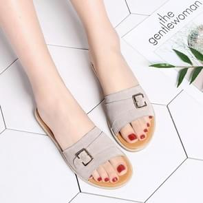 Simple Fashion Metal Buckle Decorative Suede Slippers for Woman (Color:Beige Size:35)