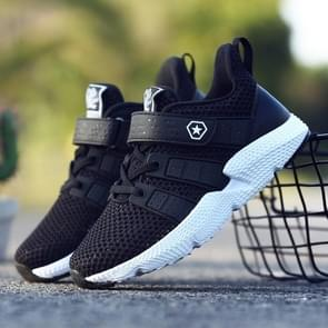 Stylish and Comfortable Soft and Breathable Flying Weaving Sport Casual Shoes for Children (Color:Black Size:34)