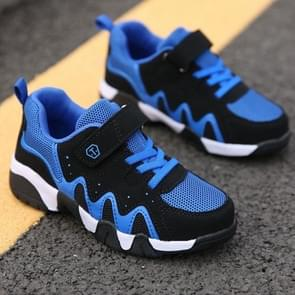 Stylish Soft and Comfortable Breathable Mesh Sport Casual Shoes for Children (Color:Black Blue Size:28)
