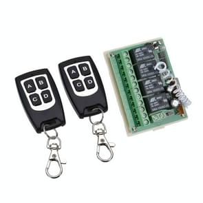 LDTR-WG0230 12V 4CH Channel 433Mhz Wireless Remote Control Switch with 2 Transmitter (Black)