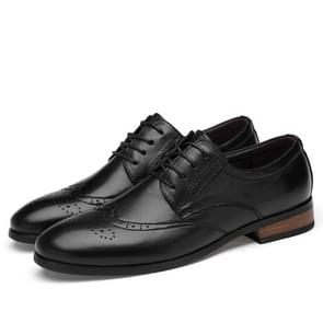 First Layer Cowhide + Microfiber Inner Solid Color Business Formal Shoes for Men (Color:Black Size:35)