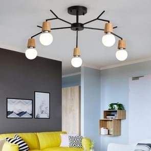 Living Room Modern Minimalist Atmosphere Home Restaurant Bedroom Macaron Creative Personality Chandelier, 5 Heads Black