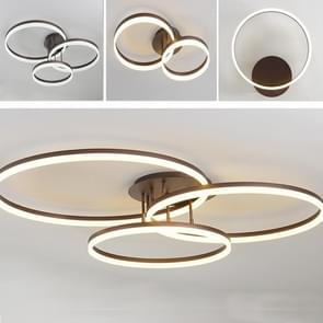 75W Modern Minimalist Atmosphere Bedroom Restaurant Study Creative Personality LED Ceiling Lamp, Three Circles 90x72cm, Stepless Dimming + Remote Control