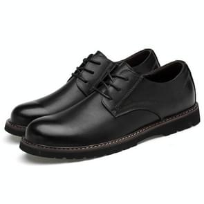 Round Head Solid Color First Layer Cowhide Casual Shoes for Men (Color:Black Size:38)