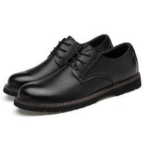 Round Head Solid Color First Layer Cowhide Casual Shoes for Men (Color:Black Size:39)