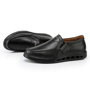 Wear Resistant Round Head Solid Color Casual Leather Shoes for Men (Color:Black Size:44)