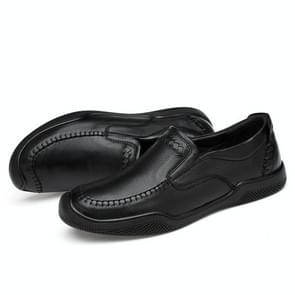 Spring and Autumn Round Head Solid Color Casual Shoes for Men (Color:Black Size:36)