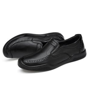 Spring and Autumn Round Head Solid Color Casual Shoes for Men (Color:Black Size:40)