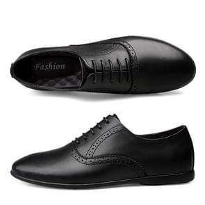 First Layer Cowhide + Microfiber Inner Solid Color Business Formal Casual Shoes for Men (Color:Black Size:39)