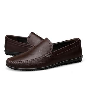 Round Head Wear Resistant Solid Color Casual Shoes for Men (Color:Brown Size:47)