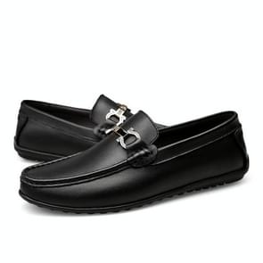 Round Head Flat Heel Solid Color Casual Shoes for Men (Color:Black Size:39)