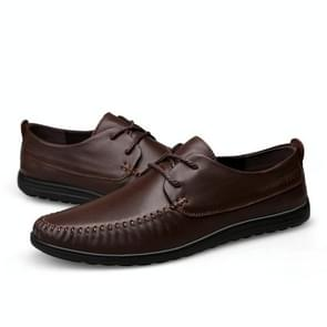 Lightweight and Comfortable Lace-up Solid Color Casual Shoes for Men (Color:Brown Size:43)