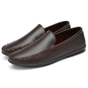 Soft and Comfortable Solid Color Casual Shoes for Men (Color:Brown Size:47)