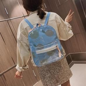 Printed Fruit Pattern Clear Plastic Surface Double Shoulders Bag Ladies Backpack Bag (Blue)