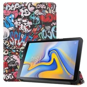 Graffiti Pattern Colored Painted Horizontal Flip PU Leather Case for Galaxy Tab Advanced2 / T583, with Three-folding Holder