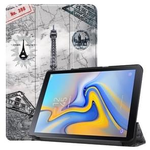 Retro Tower Pattern Colored Painted Horizontal Flip PU Leather Case for Galaxy Tab Advanced2 / T583, with Three-folding Holder