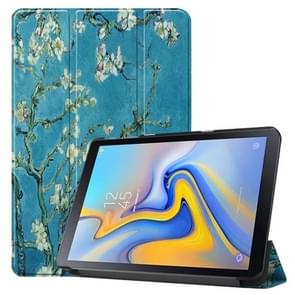Apricot Flower Pattern Colored Painted Horizontal Flip PU Leather Case for Galaxy Tab Advanced2 / T583, with Three-folding Holder
