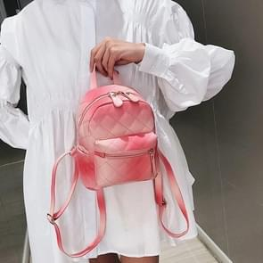Lingge Embroidered Line Gradient Color Double Shoulders Bag Casual Mini Travel Backpack (Pink)