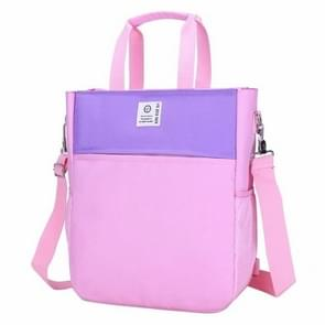 British Style Students Double Shoulders School Backpack Bag Single Shoulder Crossbody Bag (Pink)