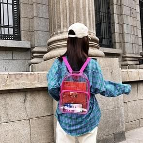 Transparent PVC Multi-function Double-shoulder Bag Casual Shool Backpack Bag (Rose Red)