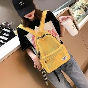 2 in 1 Fashion Mesh Multi-function Double-shoulder Bag Casual Shool Backpack Bag (Yellow)