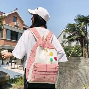 Large-capacity Fresh Tree and Sun Lattice Pattern Color Matching Casual Double Shoulders Bag Double Zipper Backpack Bag (Pink)