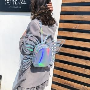 Butterfly Shape Laser Color PU Leather Double Shoulders Bag Ladies Handbag (Silver)