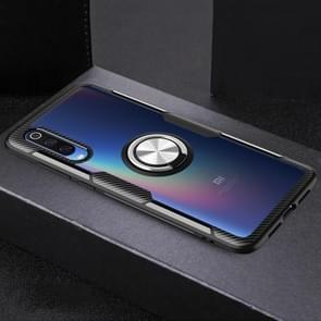 Highly Transparent Tempered Glass Lens +TPU Protective Case  for Xiaomi Mi 9, with Magnetic Ring  Holder(Silver+Black)