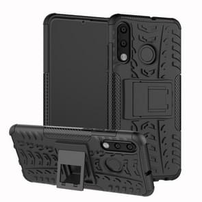 Tire Texture TPU+PC Shockproof Phone Case for Huawei P30 Lite / Nova 4e, with Holder (Black)