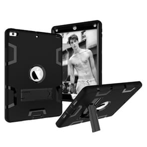 Contrast Color Silicone + PC Shockproof Case for iPad 9.7 inch (2018/2017), with Holder (Black)