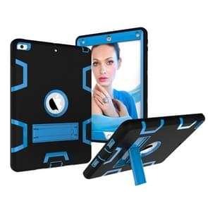 Contrast Color Silicone + PC Shockproof Case for iPad 9.7 inch (2018/2017), with Holder (Blue)