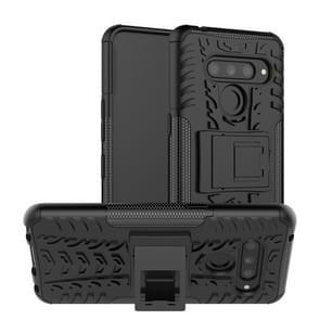 Band textuur TPU + PC schokbestendige Case voor LG V50 ThinQ  met houder (zwart)