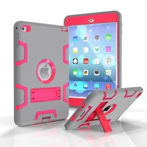 Contrast Color Silicone + PC Shockproof Case for iPad mini 5 / mini 4, with Holder(Grey+Rose Red)