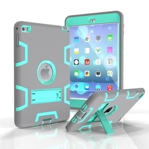 Contrast Color Silicone + PC Shockproof Case for iPad mini 5 / mini 4, with Holder(Grey+Mint Green)
