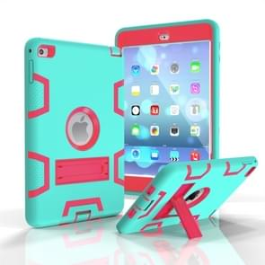 Contrast Color Silicone + PC Shockproof Case for iPad mini 5 / mini 4, with Holder(Mint Green+Rose Red)