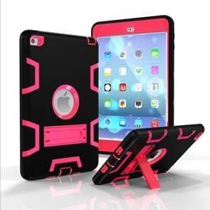 Contrast Color Silicone + PC Shockproof Case for iPad mini 5 / mini 4, with Holder(Black+Rose Red)