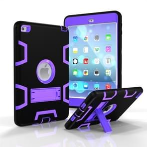 Contrast Color Silicone + PC Shockproof Case for iPad mini 5 / mini 4, with Holder(Black+Purple)