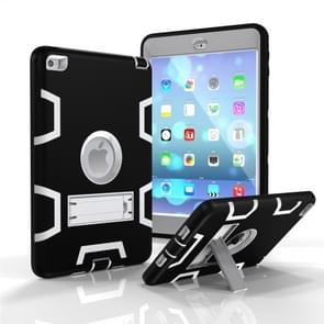 Contrast Color Silicone + PC Shockproof Case for iPad mini 5 / mini 4, with Holder(Black+Grey)