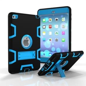 Contrast Color Silicone + PC Shockproof Case for iPad mini 5 / mini 4, with Holder(Black Blue)