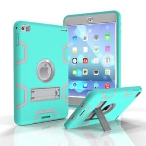Contrast Color Silicone + PC Shockproof Case for iPad mini 5 / mini 4, with Holder(Mint Green)