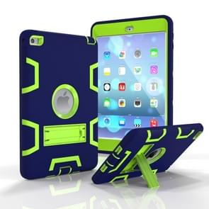 Contrast Color Silicone + PC Shockproof Case for iPad mini 5 / mini 4, with Holder(Navy Blue)